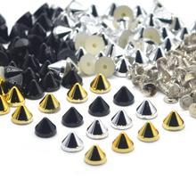 Kalaso 100 conjuntos de prata ouro preto chapeado acrílico cone punk studs rebites picos para sapatos saco decoração vestuário 6.4x5.1mm