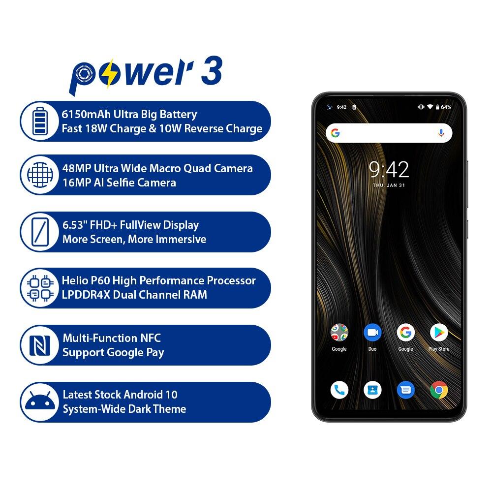 "UMIDIGI Power 3 Android 10 48MP Quad AI Camera 6150mAh 6.53"" FHD+ 4GB 64GB Helio P60 Global Version Smartphone NFC Mobile Phone"