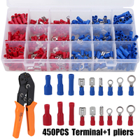 450pcs Cable Lugs Flat Plug Insulated Electric Wire Crimp Spade Ring Terminal Connectors + Crimping Tool Mixed Assortment Kit
