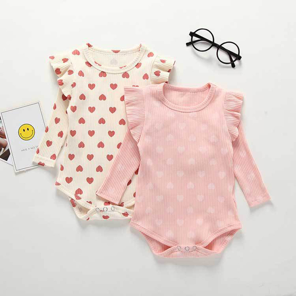 Newborn   Romper   Toddler Baby Kids Girls Heart Ruffles Ruched Solid   Romper   Casual Clothes Roupas Kids Long Sleeve Clothing 6M-24M