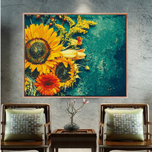 Digital Oil Painting DIY Sunflower Filling Living Room Simple Color Painting Decompression Manual Self Painting Decorative