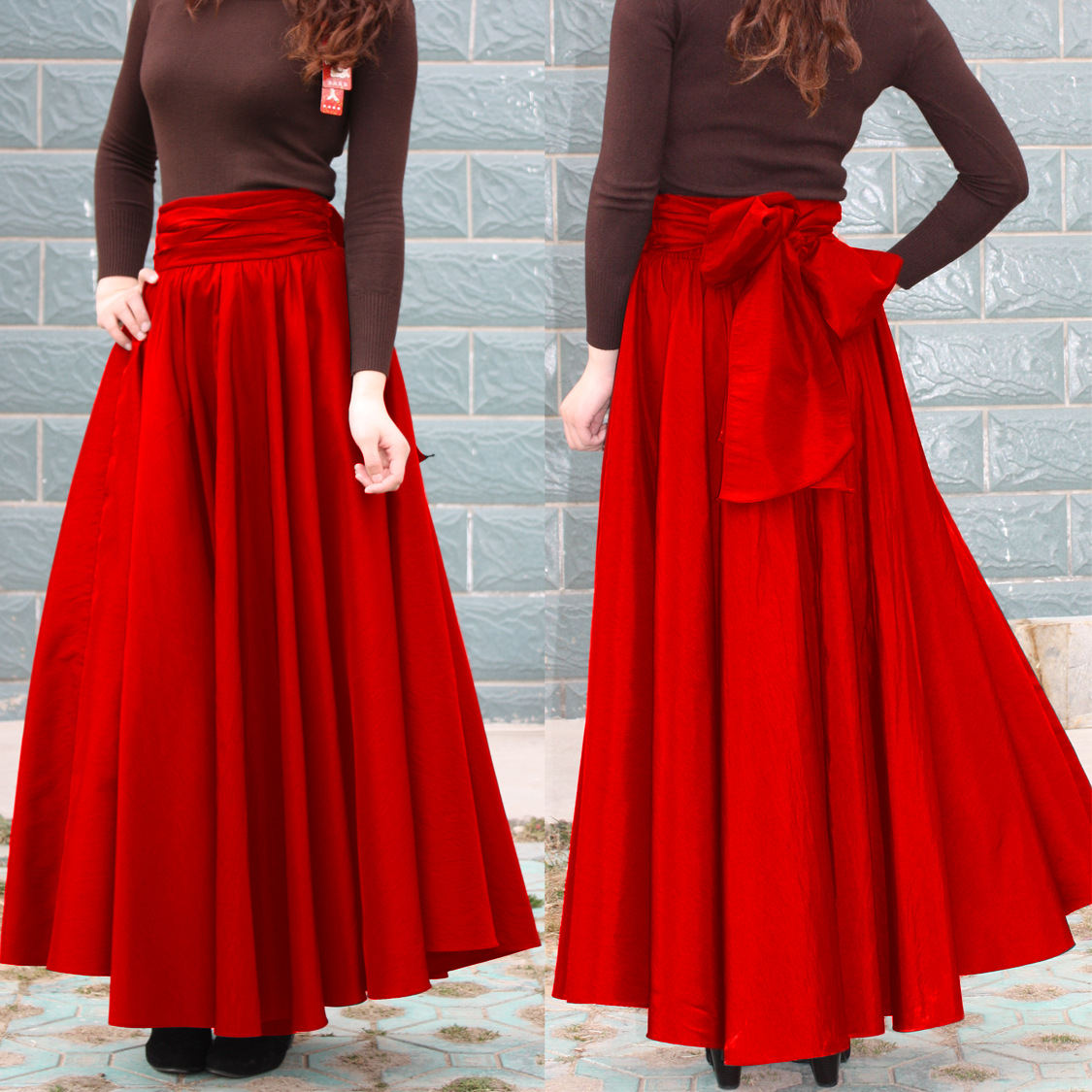 Dk124 Europe And America Street Snap Celebrity Style Bow Big Hemline High-waisted Slimming-Style Long Skirts Skirt Pleated Skirt