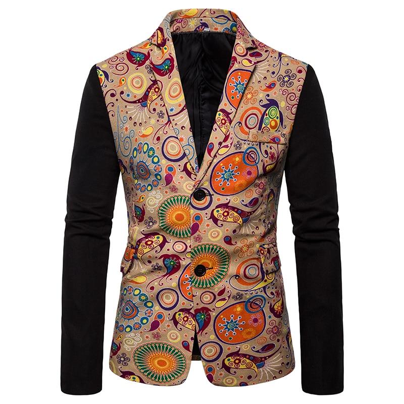 Formal Coat Men Business Formal Party Vintage Slim Fit Printing Plus Size Patchwork Men Jacket Blazer Hombre Casual