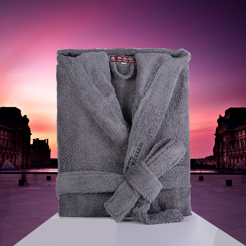 Men Bathrobe Cotton Hooded Winter Thick Warm Towel Fleece Nightwear Hotel Spa Men's Robe Couples Kimono Robe Long Nightgown
