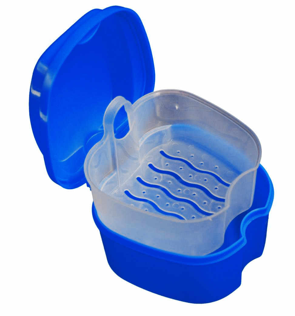 Nuova scatola di Immagazzinaggio Conveniente Protesi Bagno Della Cassa Della Scatola Dentale Dentiera Storage box con Appesa Al Netto Contenitore