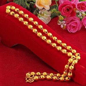 24k Yellow Gold 8mm Round Bead Pendant For Men 60cm Buddha Hollow Ball Sand Gold Pendant Fine Jewelry Wedding Birthday Gifts
