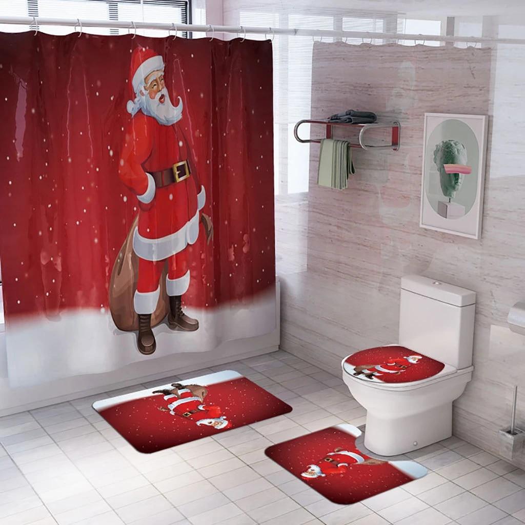 Merry Christmas Bathroom Shower Curtain+Toilet Seat Mat+Lid Pad Rugs+Bath Cover