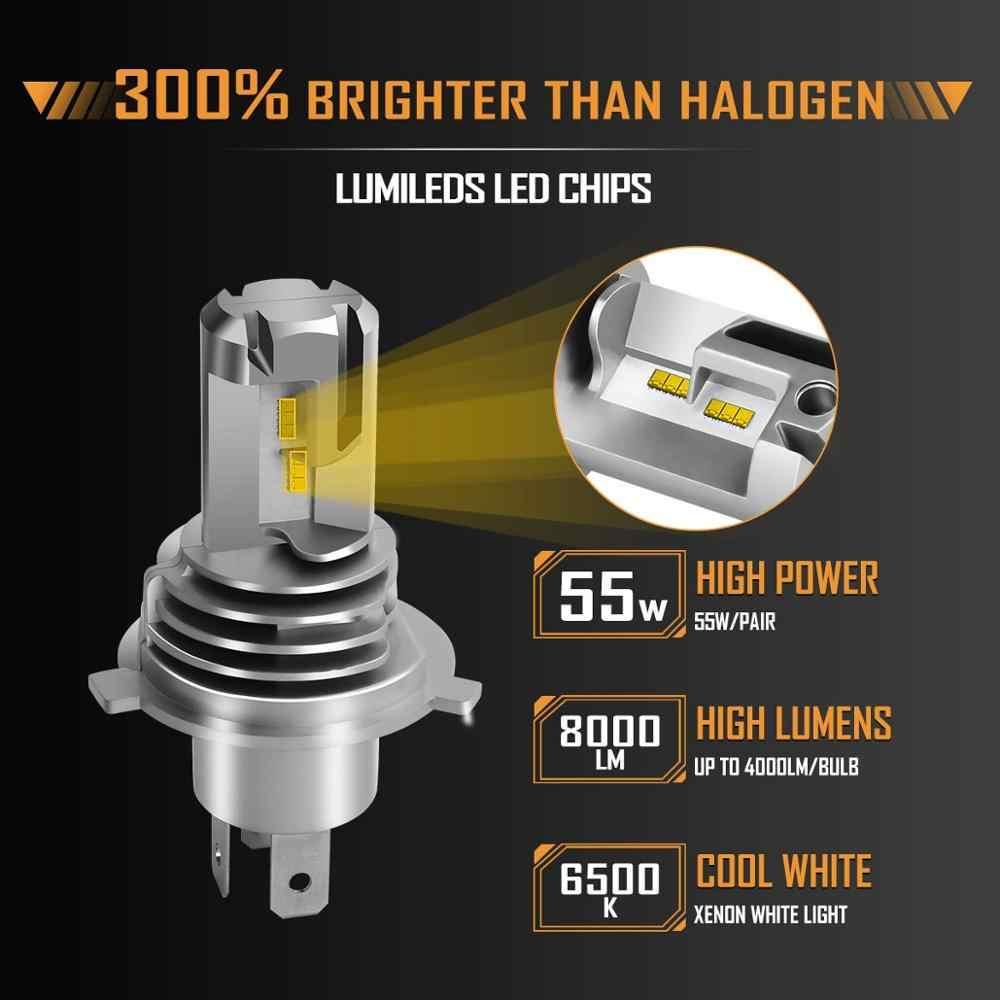 H4 HB2 9003, faro LED para motocicleta, bombillas M3 Mini de alto bajo Hi Lo, Chips ZES de 60W, 12000LM, 6000K, conexión directa inalámbrica