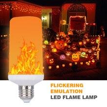 Pełny Model 3W 5W 7W 9W E27 E26 E14 E12 żarówka płomień 85 265V efekt płomienia led lampka imitująca ogień żarówki migotanie emulacja dekoracyjna led