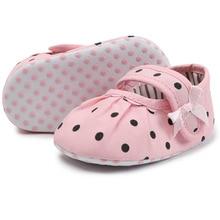 Baby Girl Shoes Newborn Pink Polka Dot Cotton Soft Anti-Slip Sole Toddler Princess Crib Moccasins