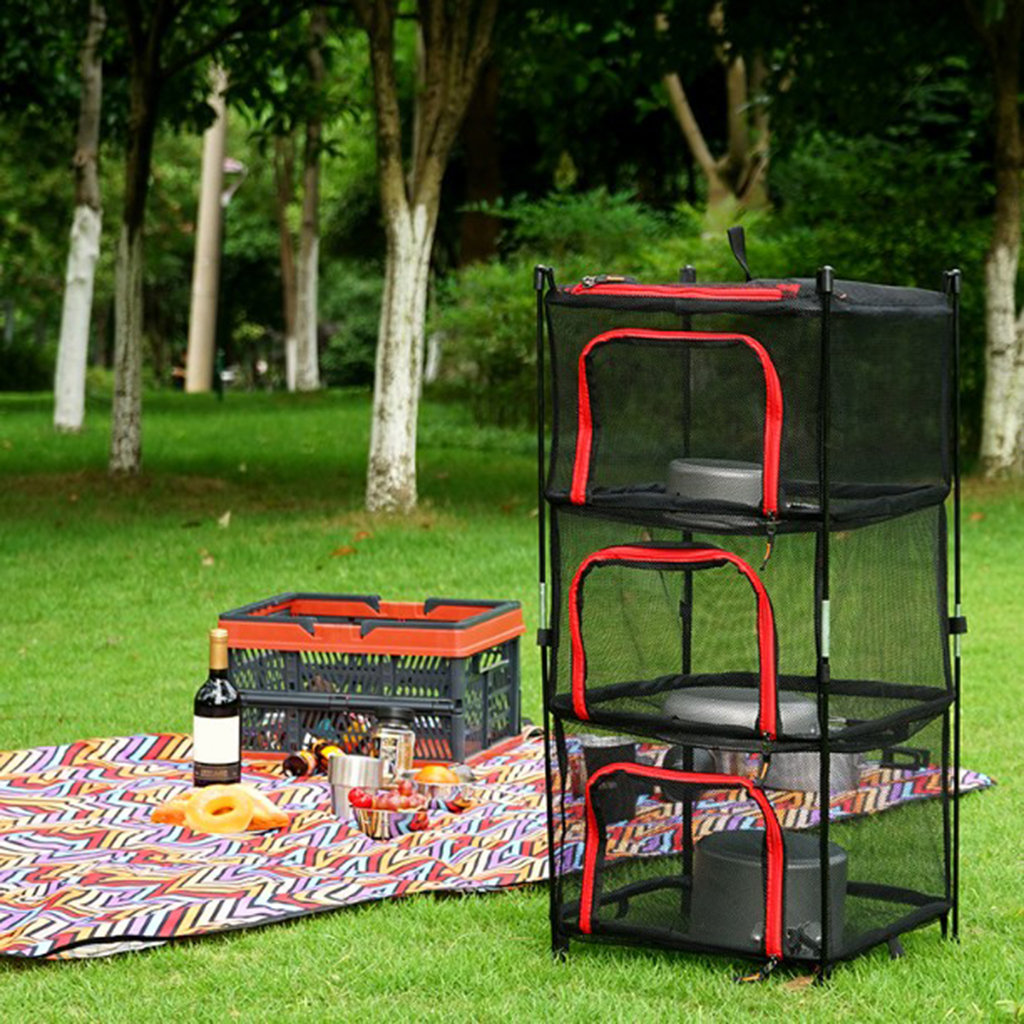 Basket Food-Dehydrator-Storage Dry-Rack Outdoor Cookware 4-Layer Netting Hanging-Drying