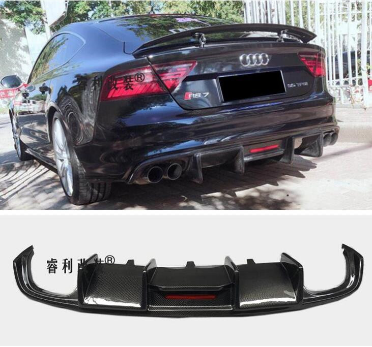 High Quality Carbon fiber <font><b>Rear</b></font> Bumper Lip Spoiler <font><b>Diffuser</b></font> Cover For <font><b>Audi</b></font> <font><b>A7</b></font> S7 RS7 2011 2012 2013 2014 2015 Year (With Lamp) image