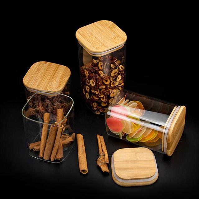 Boîte à grains scellée en verre 1 pièce | Pot carré de stockage des aliments pour thé café en vrac (950ml/750ml/550ml)
