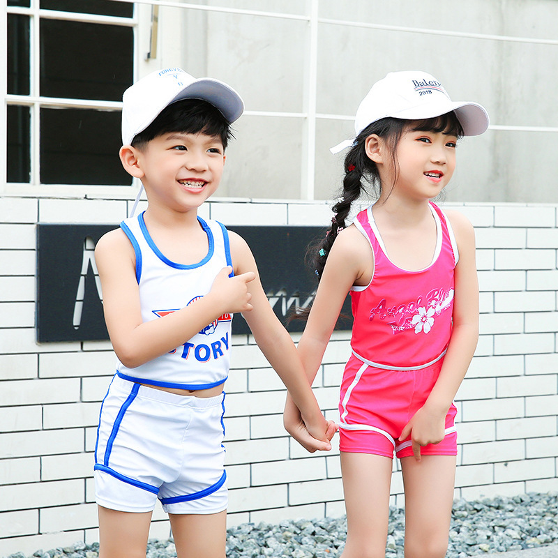 Summer Korean-style KID'S Swimwear Siblings Set Two Piece Set Tour Bathing Suit Vest Shorts Beach Hot Springs Play With Water Su