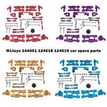 Wltoys 124019 124018 144001 peças de carro rc metal kit de atualização de eixo de acionamento puxar haste balanço braço de direção copo c assento engrenagem etc.