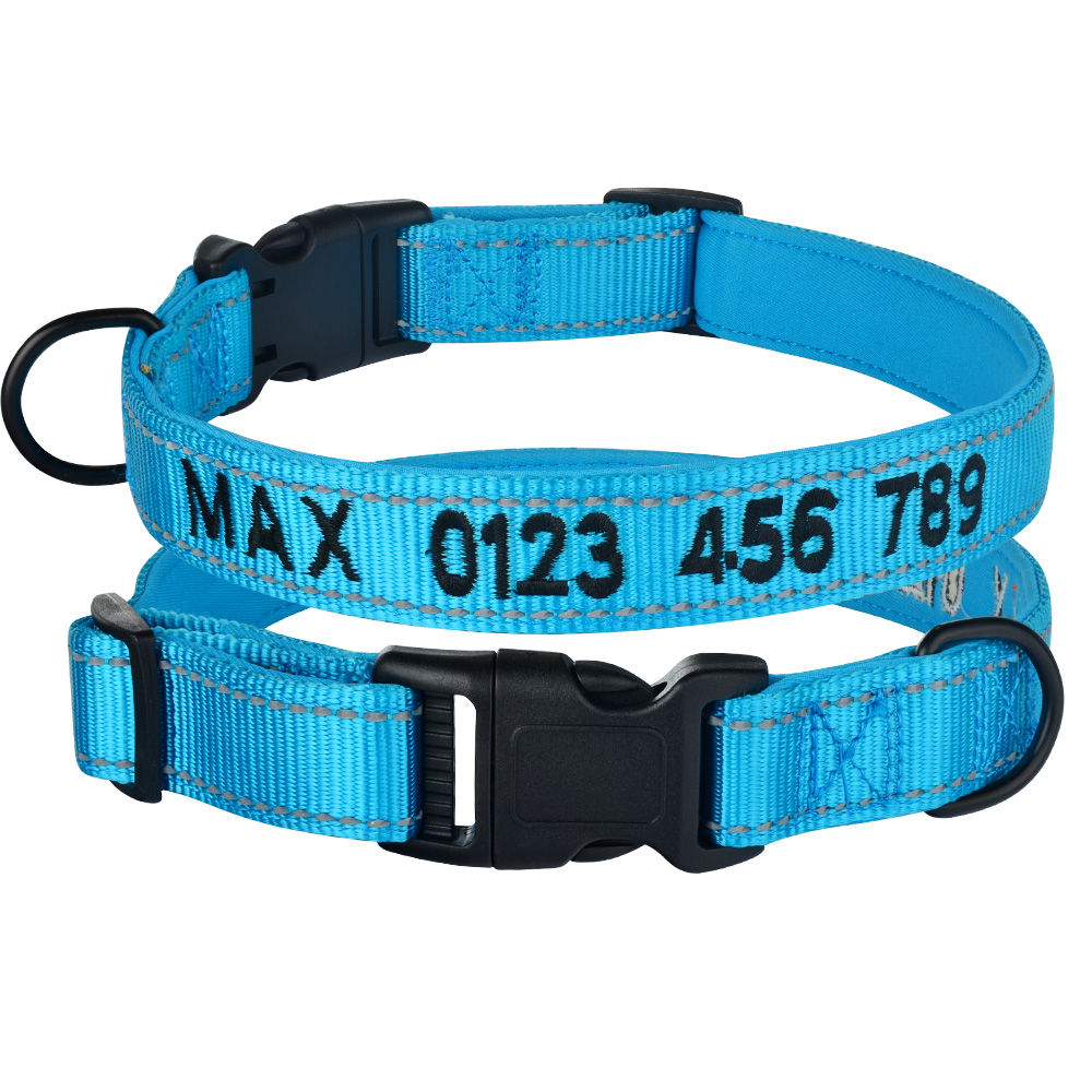 Collars, Harnesses & Leashes Dogs New Arrivals Adjustable Nylon Embroidered and Reflective Dog Collar  My Pet World Store