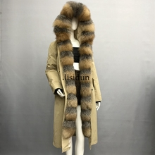 2019 natural fox fur coat Silver Fox collar plus size long winter Jacket Rex rabbit liner red fox hooded thick warm parks Disass цена