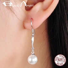 pe 005 free shipping freshwater round white pearl drop earrings 925 sterling silver earrings jewelry BLACK ANGEL 925 Sterling Silver Temperament Pearl Long Drop Earrings for Women Freshwater Pearl Dangle Earrings Jewelry