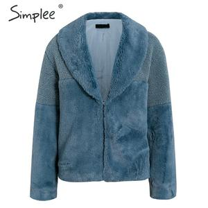 Image 5 - Simplee, abrigo de piel sintética de retales, chaqueta elegante de Otoño Invierno para mujer, abrigos cálidos para mujer, prendas de vestir a la moda, pelaje corto abrigos para mujer