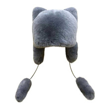 Winter warm hats earflap of natural rex rabbit fur bomber