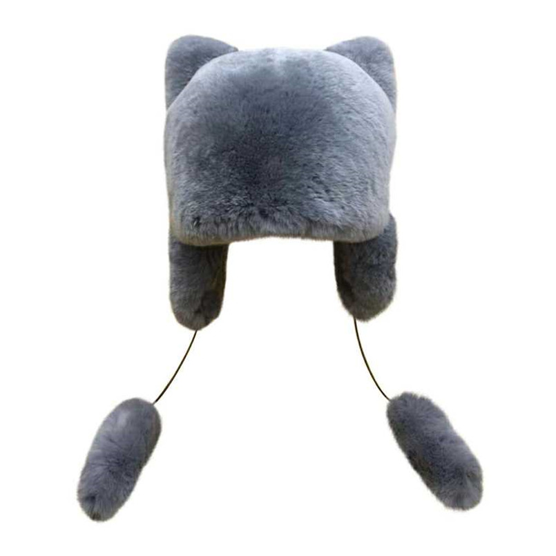 Winter warm hats earflap of natural rex rabbit fur bomber hat for child boy girl thicken cap cat ear sweet  5 colors H123