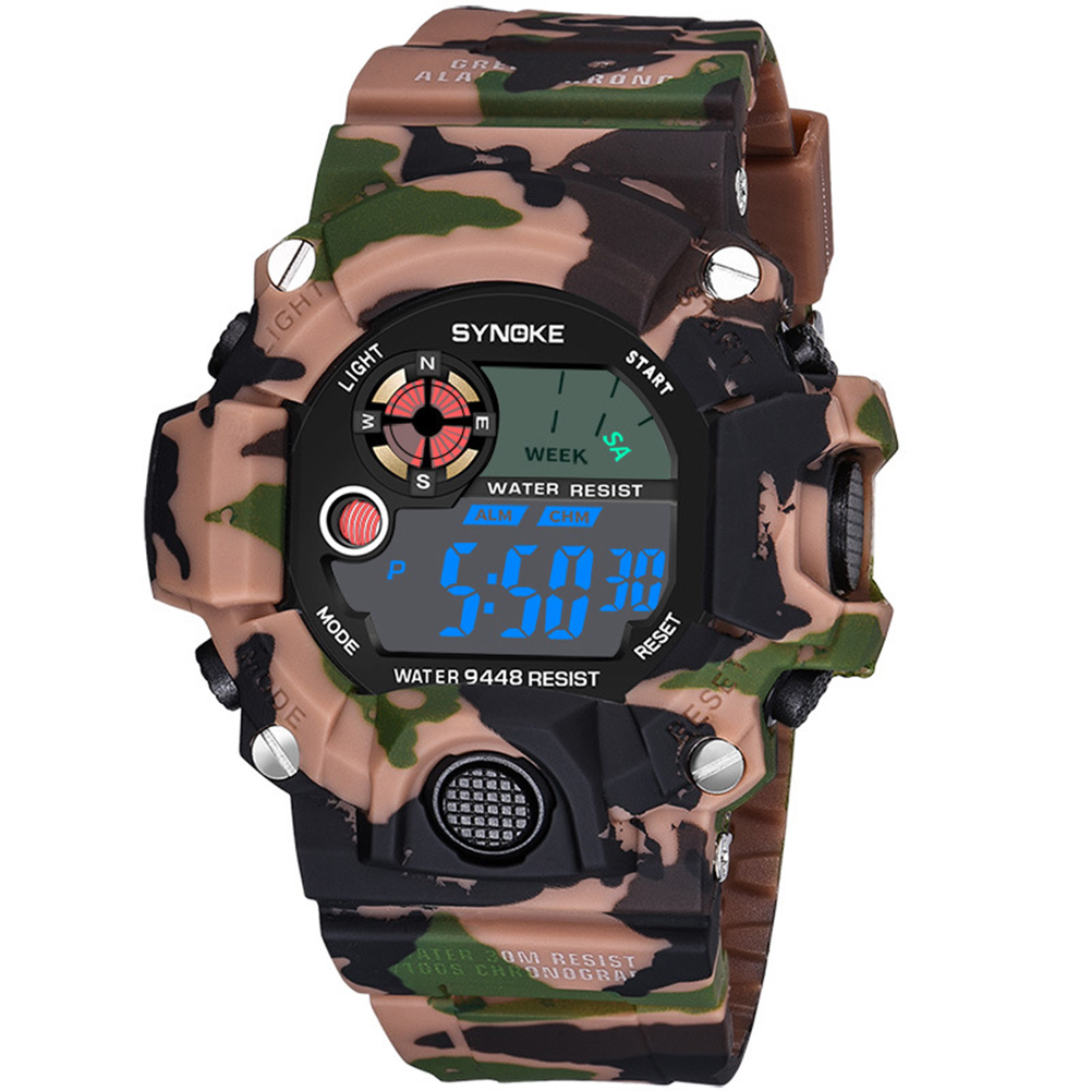 Men Women Multifunctional Electronic Watch Fabala Casual Digital Sport Camouflage Waterproof Wrist Watch UV ABS Military Watches