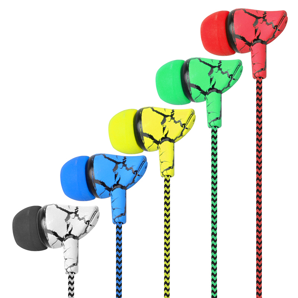 Crack Braided Headset Wired Colorful Earphone In-ear With Microphone Super Bass 3.5mm Wired Control Super Bass For Phone