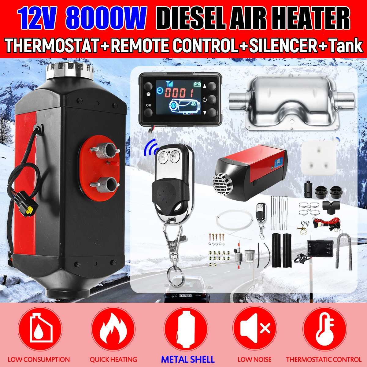 8000W Air Diesels Heater 8KW 12V Metal Car Heater For Trucks Motorhomes Boats Bus +LCD Monitor Switch +Remote Control + Silencer