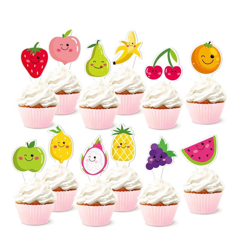 Tutti Frutti Cupcake Toppers Watermelon Lemon Cake Baking Decorations For Luau Hawaii Birthday Wedding Beach Pool Party Supplies Cake Decorating Supplies Aliexpress