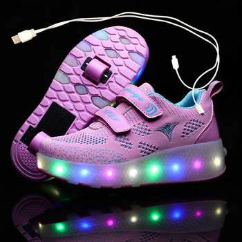 USB ładowania dzieci Roller Skate obuwie chłopcy dziewczyna automatyczne Jazzy z podświetleniem LED migające dzieci świecące tenisówki 2021 koła tanie i dobre opinie 13-24m 25-36m 4-6y 7-12y 12 + y Cotton Fabric CN (pochodzenie) Wiosna i jesień Lekkie Damsko-męskie Buty casualowe RUBBER