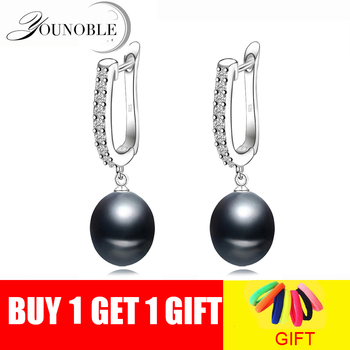 Real natural black pearl earrings for women,beautiful 925 silver freshwater party with pearls - discount item  40% OFF Fine Jewelry