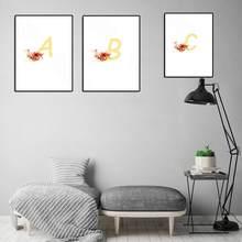 Personalizado personalidade nome cartaz flor carta arte impressão em tela imagem cartaz pintura do quarto da menina do miúdo decoração
