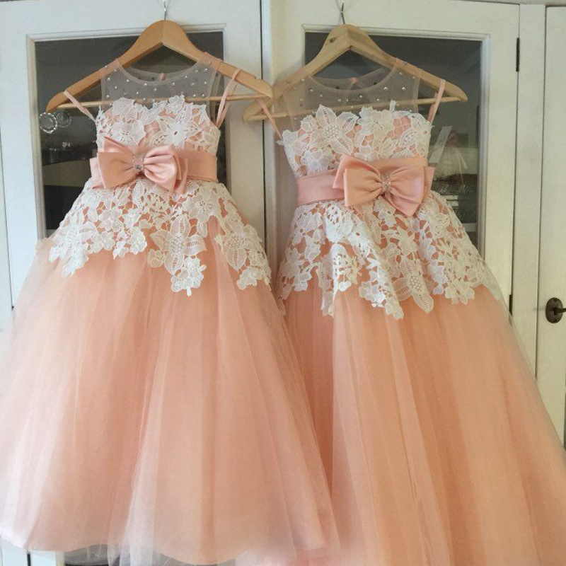 New Arrival Flower Girls Dresses High Quality Lace Appliques Beading Short Sleeve Ball Gowns Custom Holy First Communion in Flower Girl Dresses from Weddings Events