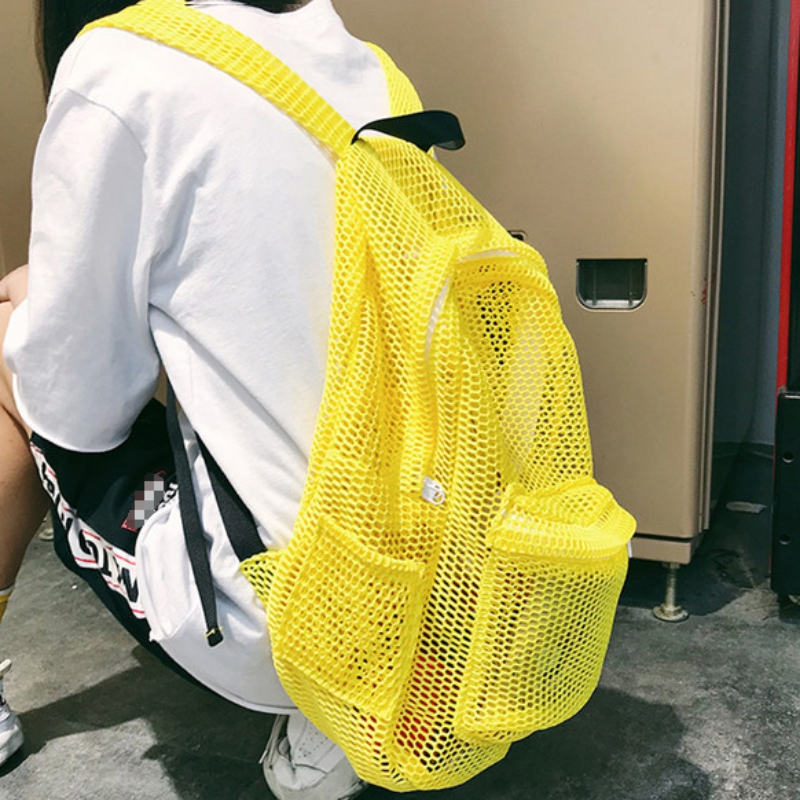 Durable Transparent Mesh Backpack With Padded Shoulder Straps Lightweight Gym Swimming Beach Travel Outdoor Sports ZL07