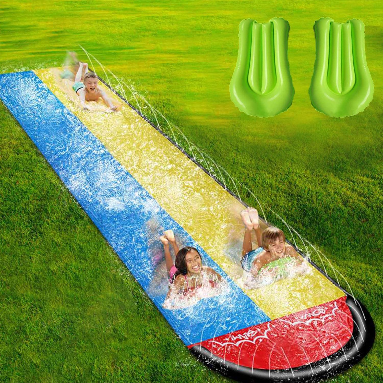 480x140cm Children Double Surf Water Slide Outdoor Garden Racing Lawn Water Slide Spray Summer Water Games Toy toboggan aquatiqu