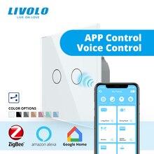 Công tắc cảm ứng Livolo tiêu chuẩn EU thông minh wifi không dây Thông Minh Tường Công Tắc 2 cách đeo chéo điều khiển, Công Tác Google nhà, tiếng vang, Alexa, chức năng hẹn giờ