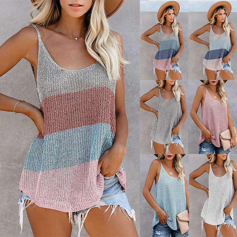 Summer New Arrival Women Top Round Neck Knitted Shoulder Strap Women Tank Tops 2020 Fashion Sleeveless Ladies Tank Vest