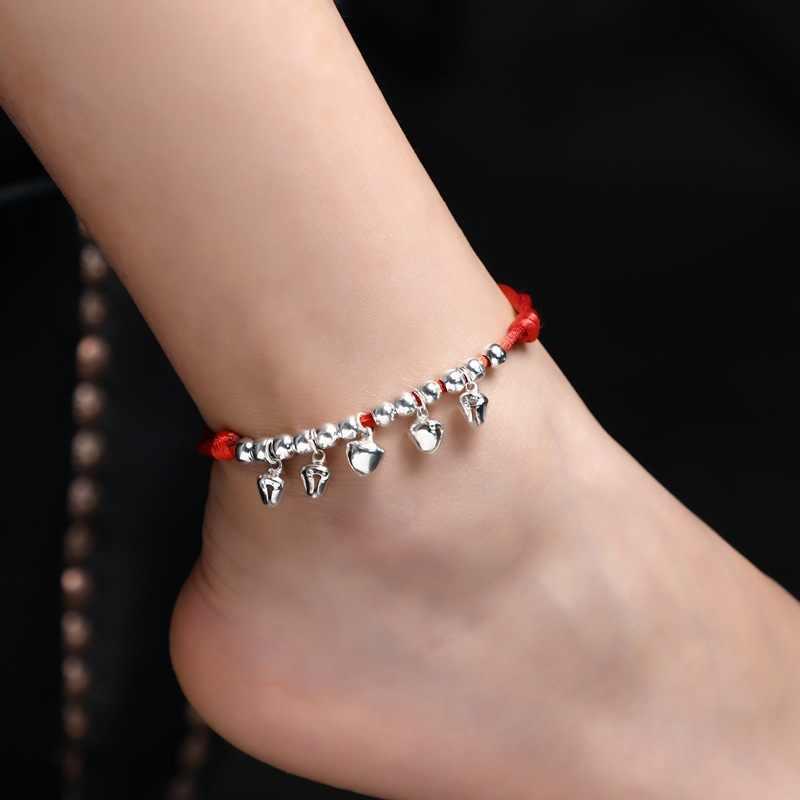自由奔放に生きる赤糸足首のブレスレットシルバーカラービーズ足ブレスレットチェーン文字列ガールアンクレットジュエリーブレスレットに脚のための女性