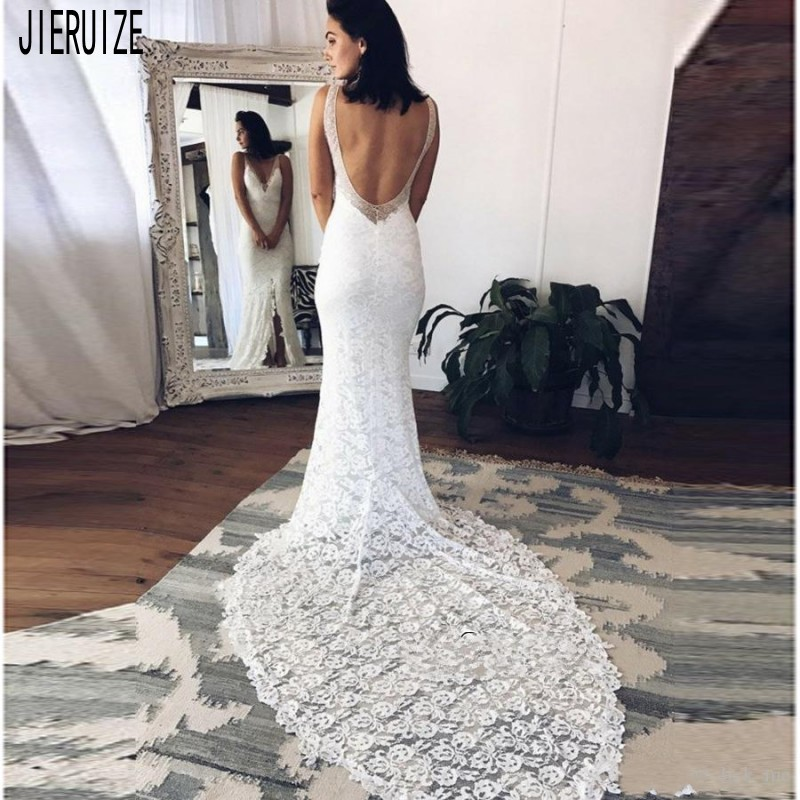 JIERUIZE Sexy Split Mermaid Wedding Dresses V Neck Backless Beach Wedding Bridal Gowns White Lace Bride Dresses Robe De Mariee