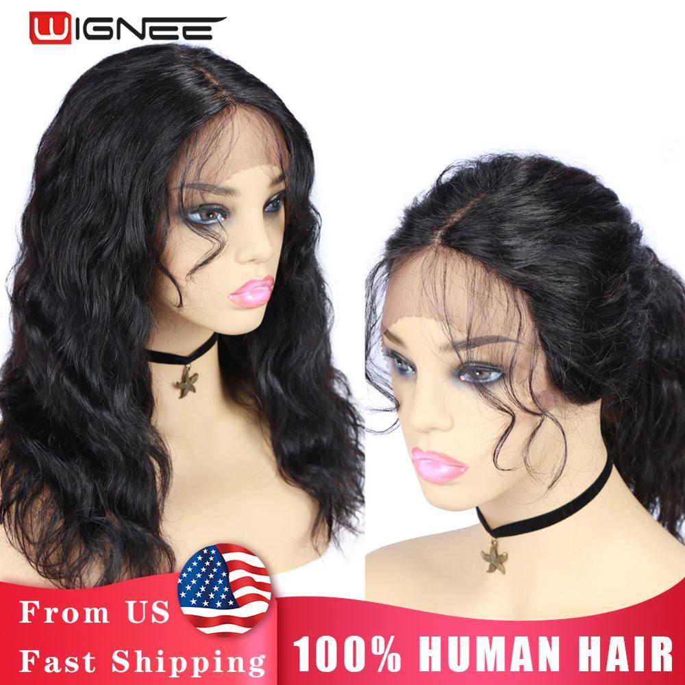 Wignee кружевные передние человеческие парики с детскими волосами для черных женщин Remy бразильские preplecked волосы линия естественная волна кор...