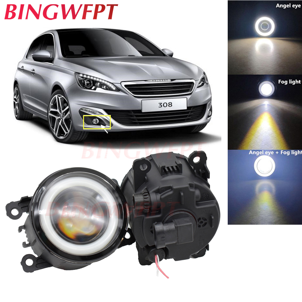 2x High power H11 LED Fog Lamps Angel Eye light with Glass len 12V For <font><b>Peugeot</b></font> <font><b>308</b></font> T9 / <font><b>308</b></font> <font><b>SW</b></font> 2013 2014 <font><b>2015</b></font> 2016 image