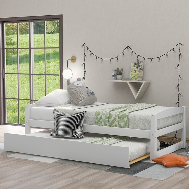 Wood Bed w/ Sliding Trundle Bed  1