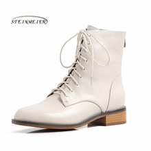 Women Genuine leather Ankle Boots Motorcycle laces Boots Winter laces Leather Flat heel short thick heel shoes Boots 2019 student hairy flat bottom warm short boots women winter thickening martin boots black white tie leather flat heel women boots