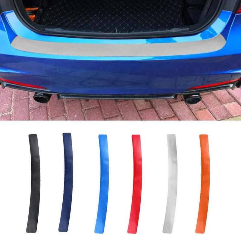 1pcs Universal Car Door Sill Carbon Fiber Sticker Rear Guard Strip Anti Kick Scratch Protection Trunk Pedal Film Protective Pad
