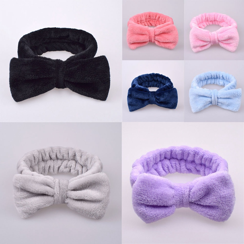 Microfiber Makeup Headbands Cosmetic Headbands Bowknot Elastic Hair Band For Wash Spa Yoga Sports Shower