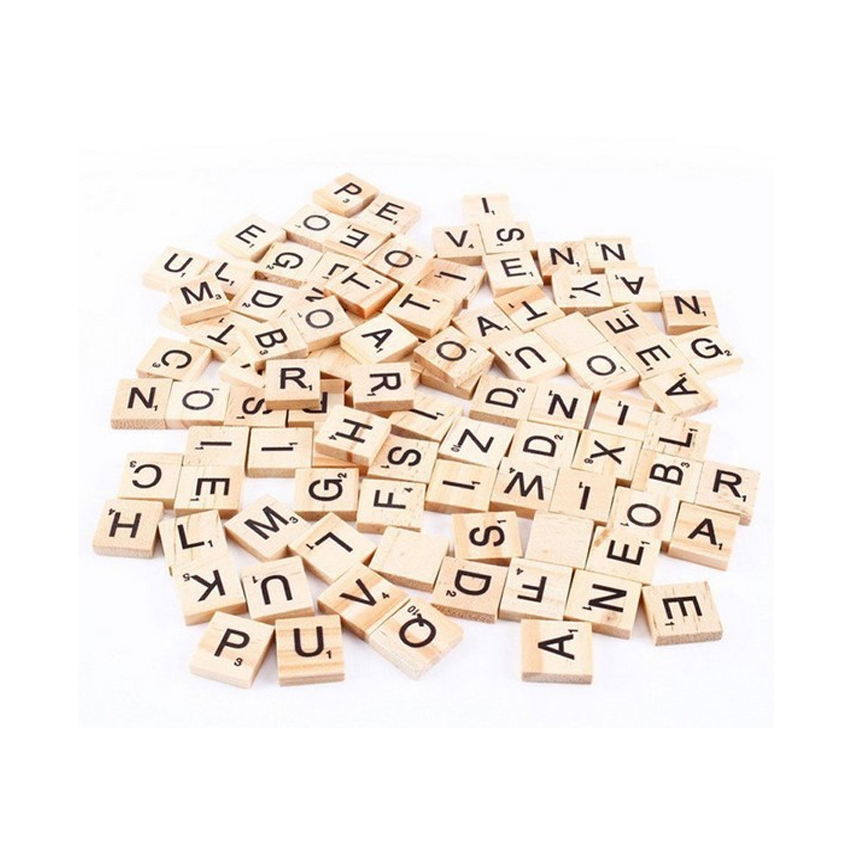 100pcs/lot High Quality Mini English Alphabet Puzzle Wooden Clamps For Children Literacy Box Wood Crafts