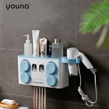 цена на Bathroom Set Accessories Toothbrush Holder Automatic Toothpaste Dispenser Suction Cup Wall Mount Bathroom Storage Boxes