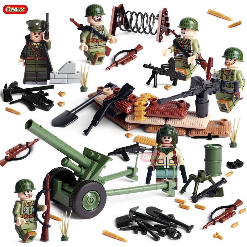 Oenux New WW2 Mini USA Army Soldiers Figures With Weapons Model Building Block Brick Compatible With Legoings Toy For Children
