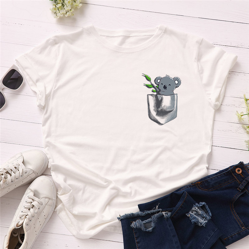 H1d28f6891e0141c883594735c388df35B - Women T-shirt Fashion Plus Size Cotton Top Cute Koala Print T shirt Female O-Neck Short Sleeve harajuku Tees feminina