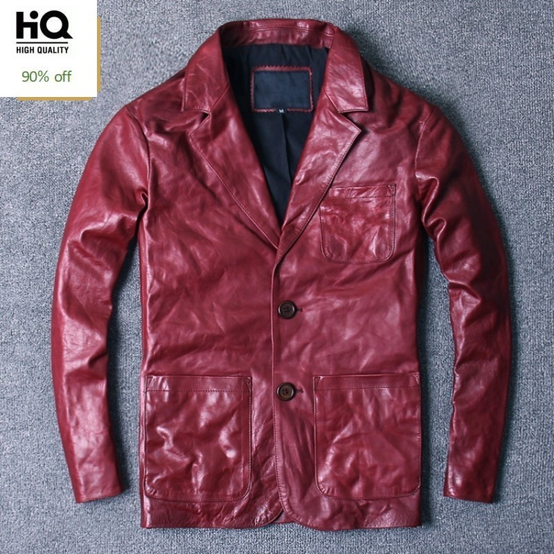 Autumn Winter Men Vintage Sheepskin Blazer Jackets Real Leather Mid Long Genuine Leather Suit Coats Man 2020 New Casual Clothes